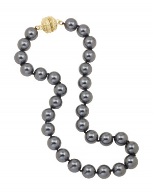 Black Shell Pearl Necklace with Magnetic Clasp