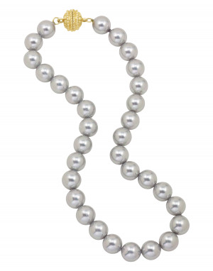 Grey Shell Pearl Necklace with Magnetic Clasp