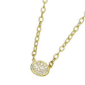 Small Oval Pave Necklace with .23pts Diamonds