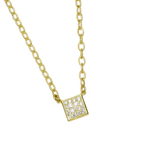 Small Square Pave Necklace with .23pts Diamonds