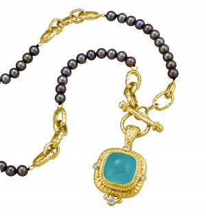 Black Pearl Toggle Necklace with Aquamarine Cabochon Pendant and .25pts Diamonds