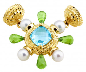 Blue Topaz and Peridot Burst Magnetic Pendant Enhancer