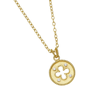 Florentine Textured Clover Necklace with .12pts Diamonds