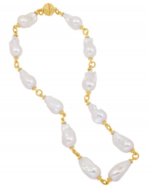 Baroque Pearl & Twisted Rope Chain with Magnetic Clasp