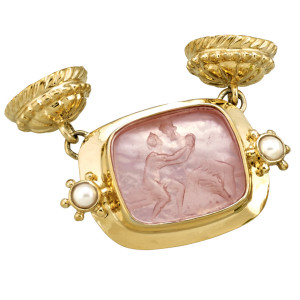 Peach Venetian Glass Mars & Venus Magnetic Enhancer with Pearl