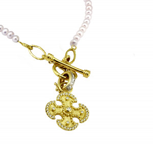 Maltese Cross Pendant with .46pts Diamonds and Pearl Toggle Necklace with Gold Links