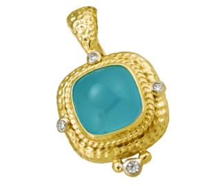 20ct Aquamarine Cabochon Pendant with .25pts Diamonds