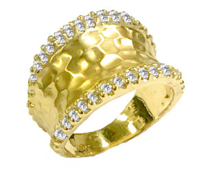 Hammered Ring with .64pts Diamonds