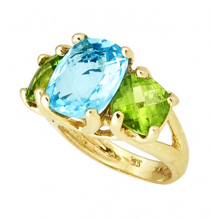 Three Stone Ring with Cushion Checkerboard Blue Topaz Center and Peridot Sides