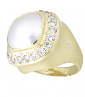 Bezel Set Cushion Mabe Pearl Ring with 1.40ct Halo of Pave Diamonds