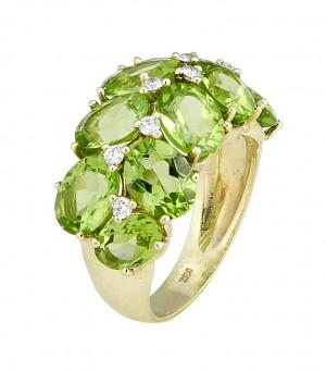 Peridot Ring with .24cts Diamonds