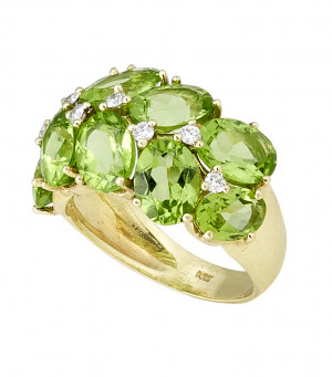 Peridot Ring with .24cts Diamonds