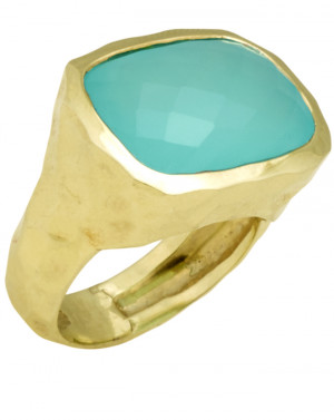 Checkerboard Faceted Blue Green Chalcedony Ring with Hammered Textured Shank