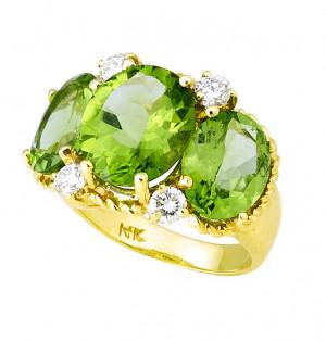 Three Stone Peridot Ring with .52pts Diamonds