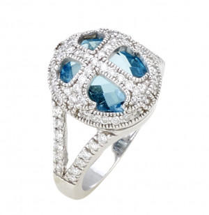 White Gold Cross Ring with Blue Topaz and .57pts Diamonds