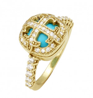Sleeping Beauty Turquoise Ring with .59pt Diamond Encrusted Cross