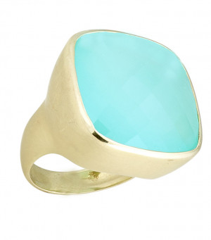 Matte Textured Checkerboard Blue Green Chalcedony Ring