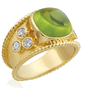 Peridot Cabochon Florentine Textured Ring with .60pts Diamonds