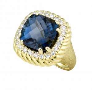 Florentine Textured Checkerboard London Blue Topaz Ring with .36pts Diamonds
