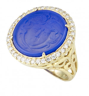Frosted Blue Chalcedony Carved Medusa Ring Encircled by .56pt Diamond Halo