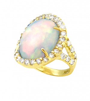 Ethiopian Opal 5.70ct Ring with 1.60cts Diamonds