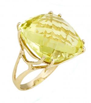 Checkerboard Lemon Citrine Ring