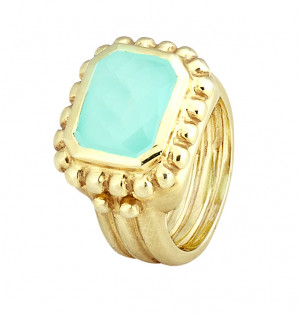 Matte Textured Checkerboard Blue Green Chalcedony Ring with Beading