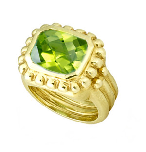 Matte Textured Peridot Ring with Beading