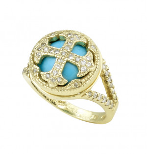 Sleeping Beauty Turquoise Cross Ring with .46pts Diamonds