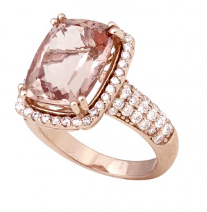 Rose Gold 6.47ct Morganite Ring with .94pts Diamonds