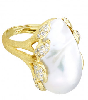 Large Baroque Pearl Ring with .67pts Diamonds and Florentine Texture