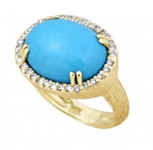 Florentine Textured Sleeping Beauty Turquoise Ring with .34pts Diamonds