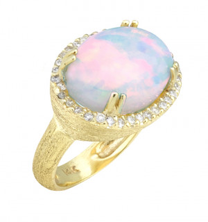 Florentine Textured Opal Ring with .34pts Diamonds