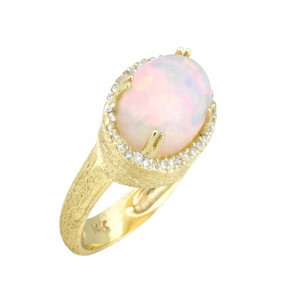 Florentine Textured Opal Ring with .22pts Diamonds