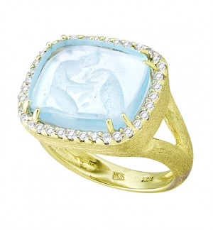 Ganymede with Eagle Venetian Glass Ring with .37pt Diamond Halo