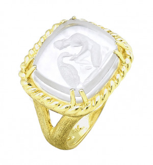 Ganymede with Eagle Venetian Glass Ring with Twist Rope