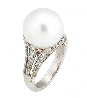 White Gold South Sea Pearl with .50pts Diamonds