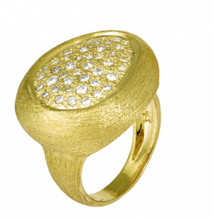 Florentine Textured Ring with .70pts Diamonds