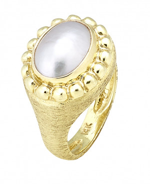 Florentine Textured Mabe Pearl Ring
