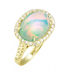 East to West 4ct Ethiopian Opal Ring with .48pt Diamond Halo