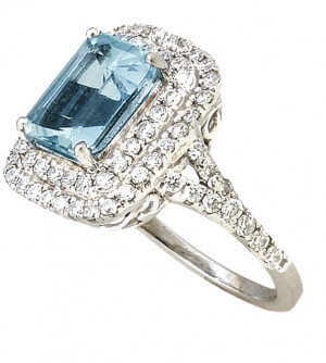White Gold 1.90ct Aquamarine Emerald Cut Ring with .80pts Diamonds