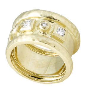 The Hammered Band Ring with .59pts Diamonds