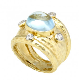 Blue Topaz Cabochon Ring with Hammered Texture and .24pts Diamonds