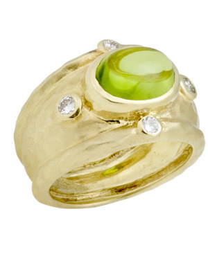Peridot Cabochon Ring with Hammered Texture and .24cts Diamonds
