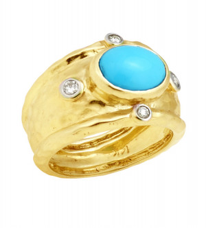 Sleeping Beauty Turquoise Hammered Texture Ring with .24cts Diamonds