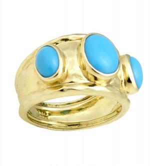 Three Stone Hammered Texture Sleeping Beauty Turquoise Ring