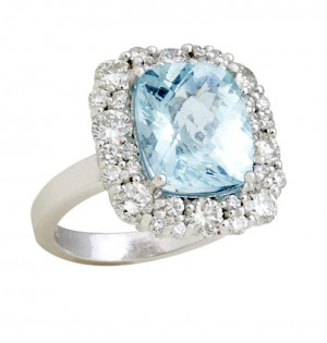White Gold 4.82ct Checkerboard Aquamarine Ring with 1.80cts Diamonds