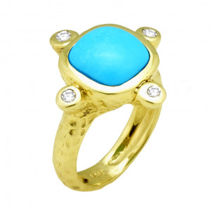 Hammered Ring With Sleeping Beauty Turquoise and .16cts Diamonds