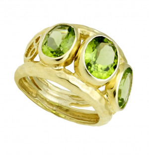 Hammered Textured Three Stone Peridot Ring