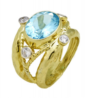 Light Swiss Blue Topaz Ring with Hammered Texture, Twisted Rope and .34cts Diamonds